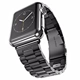 Apple Watch Band, 2015 Latest Solid Stainless Steel Metal Replacement 3 Pointers Watchband Bracelet with Double Button Folding Clasp for Apple Watch Iwatch (Black 42mm)