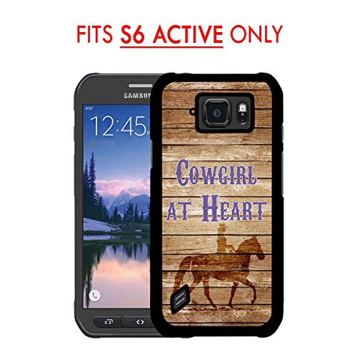 (S6 ACTIVE202;Brown Wood Cowgirl at Heart Cowgirl on Horse Samsung GALAXY S6 Active (SM-G890) 2015 MODEL Hard Plastic Phone Case - FITS S6 ACTIVE ONLY!)