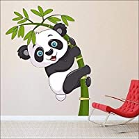 WOW Interiors Removable Panda Environmentally Mural Wall Stickers (Multicolour, PVC, Medium)