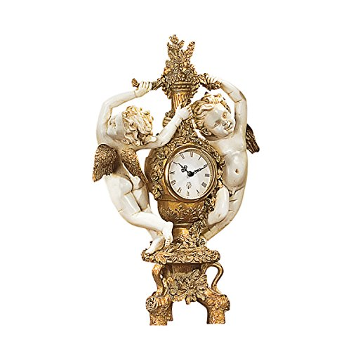 Design Toscano The Cherub's Harvest Clock in Ivory and Antiqued Faux (Harvest Design)