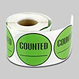 2 inch Round - COUNTED Inventory Control Labels Stickers w/ Writing Area by Tuco Deals (Green, 5 Rolls Per Pack)