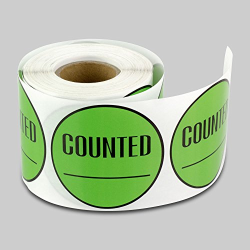 2 inch Round - COUNTED Inventory Control Labels Stickers w/ Writing Area by Tuco Deals (Green, 5 Rolls Per Pack) by TUCO DEALS
