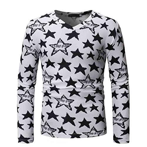 - MODOQO Long Sleeve V-Neck Casual Slim Fit Star Print Pullover Summer T-Shirt (White,CN-M/US-XS)