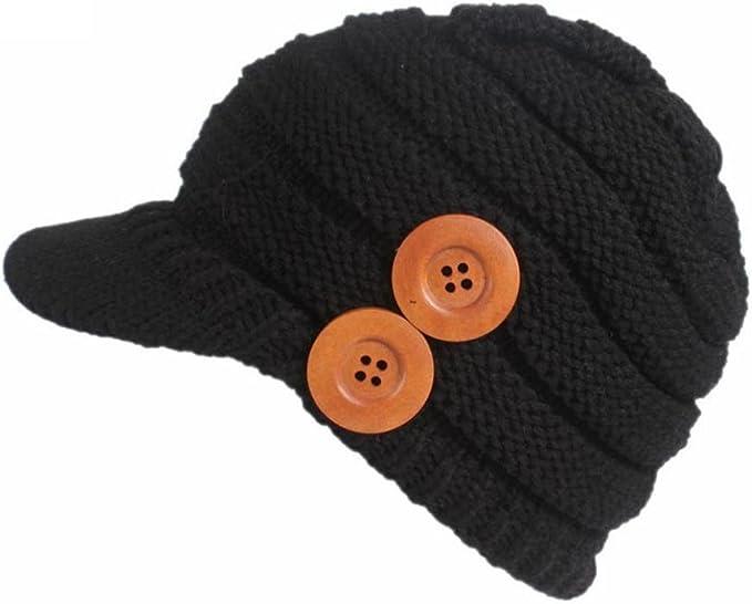 Damen Strick Mütze Zylinder Schirm Strickmütze Winter Damen schwarz Herbst