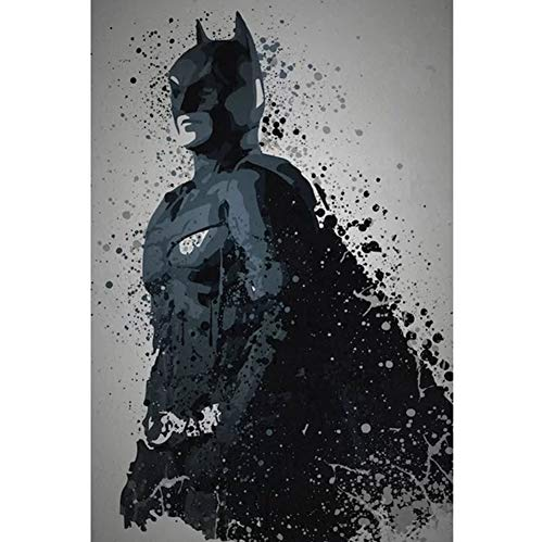 """East Urban Home 'Pop Culture Splatter Series: Dark Knight' Graphic Art Print on Wrapped Canvas (26"""" H x 18"""" W x 0.75"""" D) from East Urban Home"""