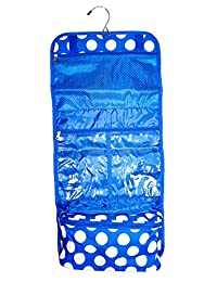 Ever Moda Hanging Toiletry Bag, Blue Whtie Polka Dot Print (25-inch)