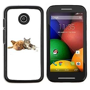 LECELL--Funda protectora / Cubierta / Piel For Motorola Moto E -- Cat Dog Animales Blancos Retriever --