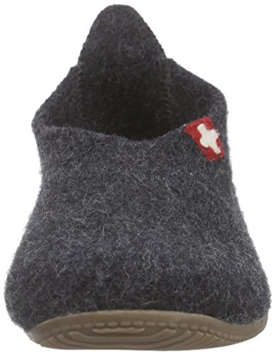 Living Kitzbühel Slipper Schweizer Kreuz, Men's Open Back Slippers Grey (Anthra 600)