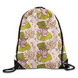 Lotus Leaf Designs Men Drawstring Backpack Heavy Duty String Bags Gymnastics
