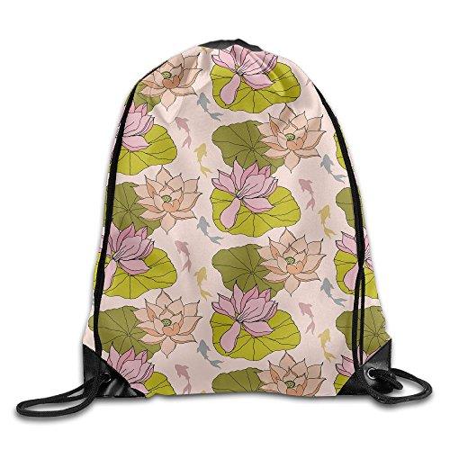 Lotus Leaf Designs Men Drawstring Backpack Heavy Duty String Bags Gymnastics