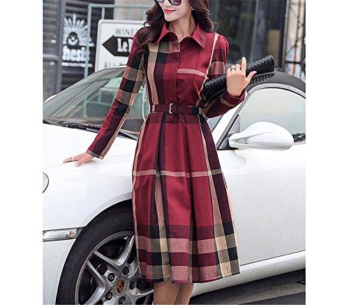 Kebinai Plaid Women Dress Spring Autumn Elegant A-Line Vintage Long Sleeve Office Lady Party Dresses Plus Size Women Clothing RedXX-Large