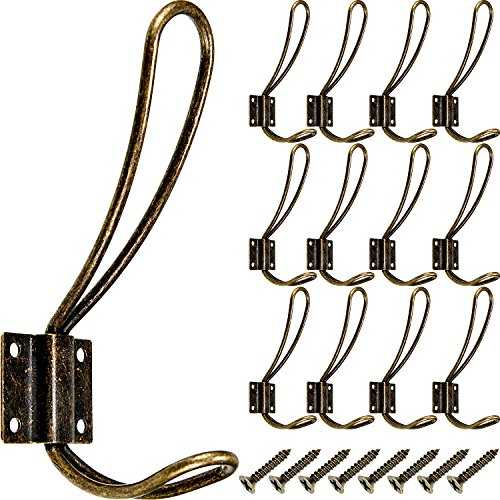 BBTO 12 Pieces Black Big Wall Mounted Rustic Hook Robe Hooks Double Coat Hangers and 48 Pieces Screws (Antique Brass)