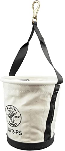 Klein Tools 5172PS Heavy-Duty Tapered-Wall Bucket with 15 Inside Pockets, No. 4 Canvas