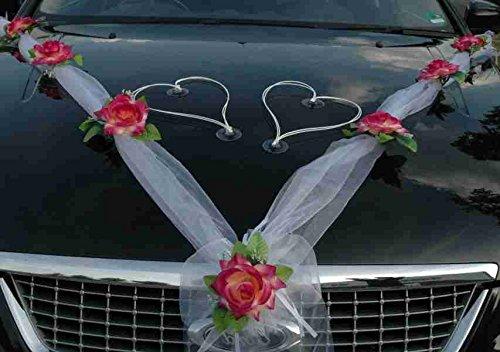 c/œurs pour jeunes mari/és Autoschmuck ruban mariages Pour voiture Burgund // Wei/ß // Wei/ß motif: roses D/écorations en organza