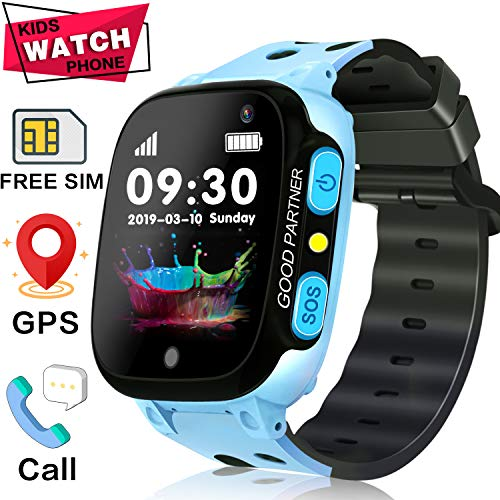 Smart Watch for Kids - [SIM Card Included] Kid GPS Tracker with Phone Smartwatch for Boys Girls with Two-Way Call SOS Anti-Lost Camera Games, Child Cellphone Wrist Watch Outdoor Summer Prime Watch Toy