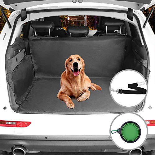(Beauty Star Cargo Liner Cover, Pet Seat Cover for SUVs Cars Trunk Waterproof Material Dog Pet Scratch Proof Muddy Stuff Protect Cover Easy Install Nonslip Mat (Black)+Collapsible Bowl+Dog Seat Belt)
