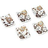 Kutani Yaki Ceramic 5 Piece Chopstick Rest Set Gold Clematis