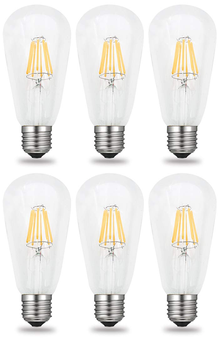 80W Incandescent Bulbs Replacement E26 Base Lamp iRotYi 6-Pack Dimmable 8W AC 120V LED Filament Light Clear Glass Bulbs ST64 Warm White 2800 Kelvin 800LM
