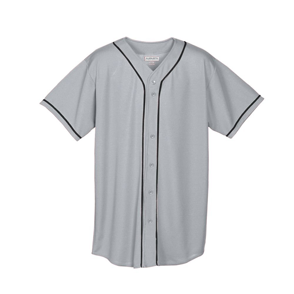 Augusta Sportswear Augusta Wicking Mesh Button Front Jersey with Braid Trim, Silver Grey/Black, Medium by Augusta Sportswear