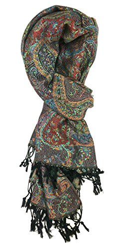 Plum Feathers Tapestry Ethnic Paisley Pattern Pashmina Scarf (Black Multi Tapestry)