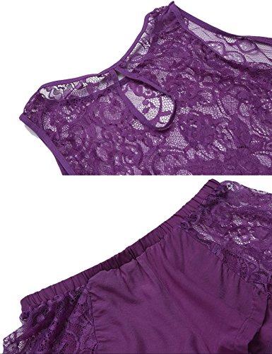 Pajama Viola Lingerie San Pizzo Set Top ADOME Sexy Valentino Corto Patchwork Donna Crop B5qUc7gw
