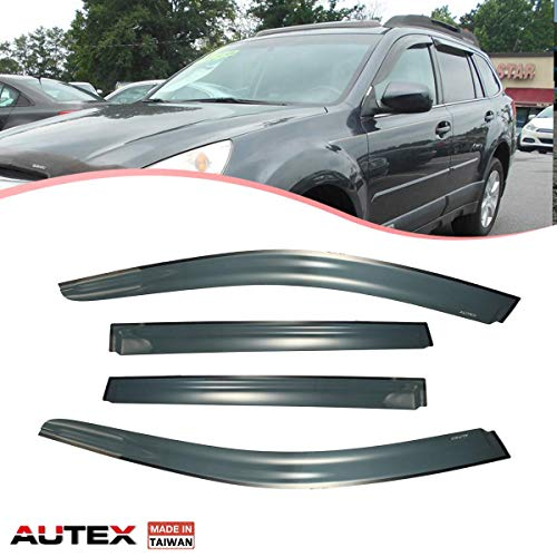 AUTEX Tape on Window Visor Compatible with Subaru Outback 2010 2011 2012 2013 2014 Side Window Wind Deflector Sun Rain - Deflectors Wind Subaru