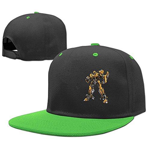 Geek Transformers Child Flat Brim Baseball Cap Boys Girls Hat Snapback Unisex KellyGreen (Cap Bill Split)