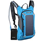 ECEEN Hydration Solar Powered Backpack With 1.8L Bladder Bag And 7 Watts Solar Charger Panel Charging for iPhone, iPad, SAMSUNG, Mobile Phones, Tablets, And Other 5V Device, Include 10000mAh Waterproof Power Battery Pack (Blue)