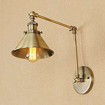 Adjustable Led Wall Light Antique Bronze Retro 2 Swing Arm Gold Wall Lamp  E26 Base For