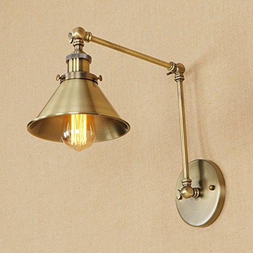 Adjustable Led Wall Light Antique Bronze Retro 2 Swing Arm Gold Wall Lamp E26 Base For Bedroom Kitchen Lighting Wall Sconce Fixture (C Style) (Vintage Swing Arm)