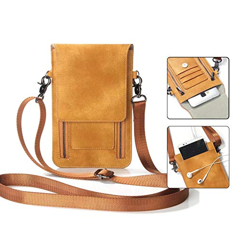 Cellphone Crossbody Bag, Techcircle Leather Zipper Wallet Card Slots Handbag Phone Pouch with Detachable Shoulder Strap for iPhone Xs / 8 Plus, Samsung Galaxy Note 8, 6.3 inch Smartphone, Brown