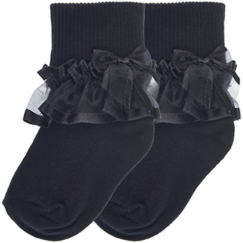 (Trimfit Baby Girls Sheer Ribbon & Bow Turn Cuff Socks 2-Pack (L (3-5 Years), Black))
