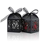 COTOPHER 100 Pack Love Heart Laser Cut Candy Boxes Wedding Party Favor Boxes Small Gift Boxes for Wedding Bridal Shower Baby Shower Birthday Party (100, Black)