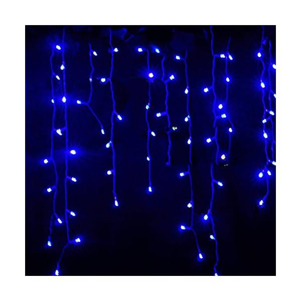 LED Tenda Luminosa, Catena Luminosa, Luci cascata, Luci per Tende, 216 LEDs 5M Natale Luci Stringa Bianco Caldo 8 Modalità Impermeabili IP44, per Natale finestra, porta, patio, giardino, feste, Blu 2 spesavip