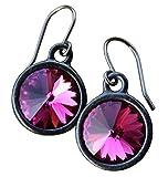 Fuchsia Crystal Rivoli Black Earrings -Hot Pink Solitaire Crystals In Gunmetal Settings and Hooks