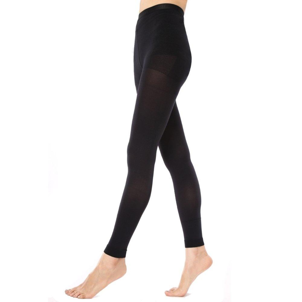 KoolFree Women Microfiber Medical Grade Graduated Compression Stockings, Footless, 23-32mmHg (Black) (XXL)