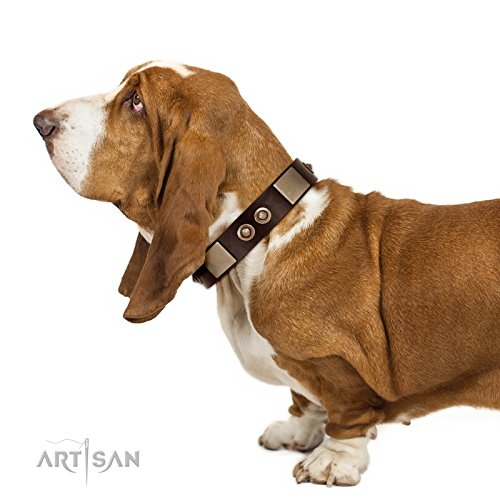 21 inch FDT Artisan Brown Leather Dog Collar with Old Bronze-Plated Studs and Plates -