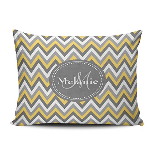 KAQIU Home Decoration Pillow Case Monogrammed Yellow and Grey Chevron Pattern Custom Throw Pillowcase Cushion Cover Standard Size 20X26 Inch Chic Personality Rectangular One Sided Printed Design