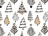 Pack Of 1, Golden Holiday Trees 24'' X 417' Roll Christmas Premium Gift Wrap Papers For 175 -200 Gifts Made In USA
