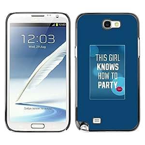 X-ray Impreso colorido protector duro espalda Funda piel de Shell para SAMSUNG Galaxy Note 2 II / N7100 - Party Quote White Text Kiss Lips