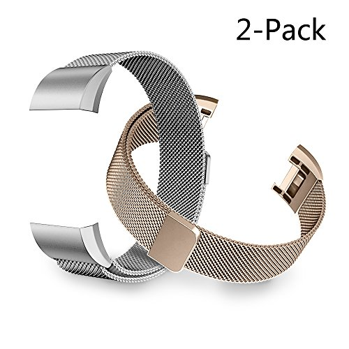 Tecson Small Bands Compatible Fitbit Charge 2, 2PCS Milanese Metal Stainless Steel Replacement Wristband with Magnet Lock for Fitbit Charge 2, Champagne Gold and Silver