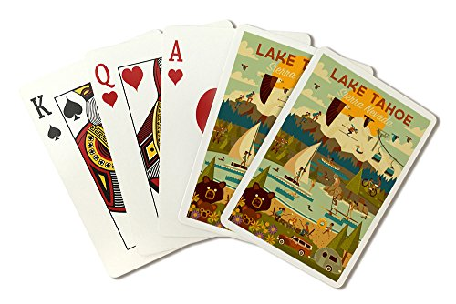 Lake Tahoe, California - Sierra Nevada - Geometric (Playing Card Deck - 52 Card Poker Size with Jokers) by Lantern Press