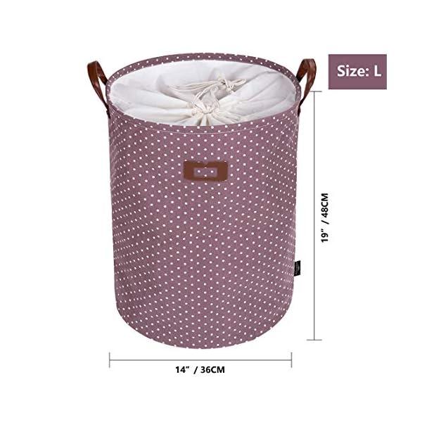 51YDO9ko7wL DOKEHOM 19-Inches Verdickte Faltbare Runde Lagerung Wäschekörbe, Baumwolle (Violett, L) EINWEG
