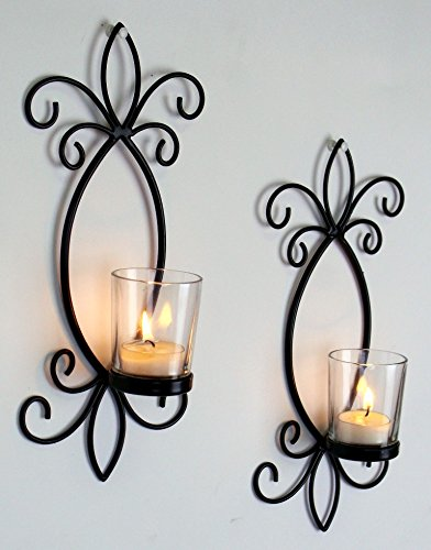 Hosley Set of Two, 11.5 High Iron Tea Light Candle Wall Sconces. Ideal Gift for Spa, Aromatherapy, wedding. Hand made by Artisans