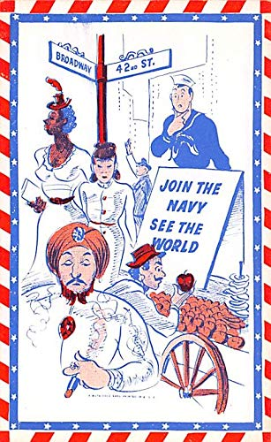 Military Comic Postcard, Old Vintage Antique Post Card Join the Navy Unused