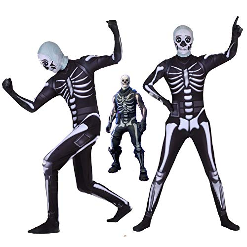 Fortnite Skull Trooper Costume Halloween Kids/Adults Zentai Bodysuit Cosplay