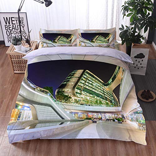 HOOMORE Bed Comforter - 3-Piece Duvet -All Season, Shanghais Famous Landmark Sky SOHO Building Scene in The Evening,HypoallergenicDuvet-MachineWashable -Twin-Full-Queen-King-Home-Hotel -School - Soho Platform Bed Twin