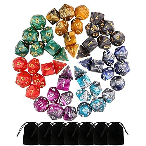 Ketteb Online Store for Kids Toys 49 PCS Double-Colors Polyhedral Dice for Dungeons and Dragons Table Games