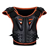 Kids Chest Protector Spine Armor Vest with Fluorescent Pads in Front, Children Dirt Bike Body Guard for Skating Skiing Riking