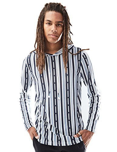 Rebel Canyon Men's Long Sleeve Printed Lightweight Pullover Hoodie Top Small Navy (Small Canyon Stripe)